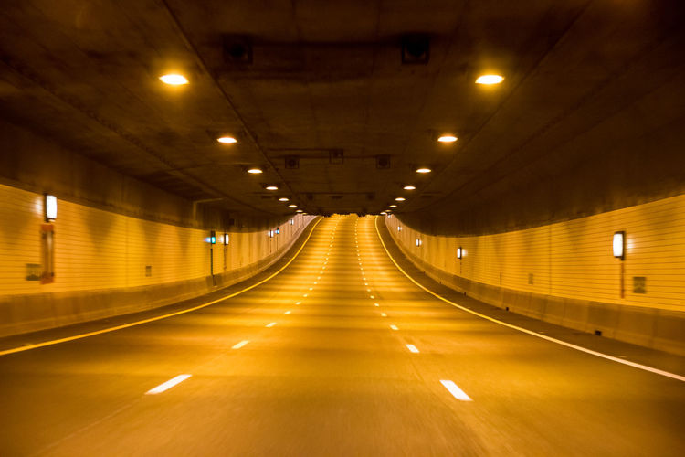Delemo Electric Light Empty Illuminated Lit Long No People The Way Forward Transportation Tunnel Mobility In Mega Cities