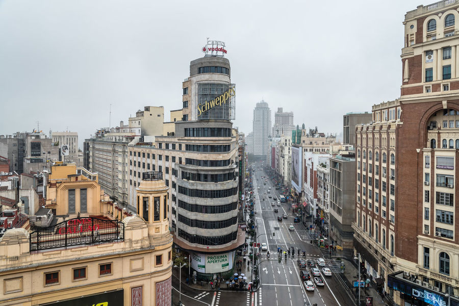 High angle view of commercial street in Madrid Architecture Architecture Callao Capital Cities  City City Life Cityscape Day Gran Via High Angle View Landmark Madrid Metropolis Outdoors Overcast Street Travel Travel Destinations Urban Urban Skyline