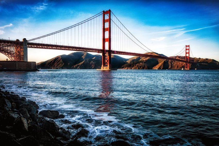 Golden Gae Bridge. San Francisco, Ca Connection Suspension Bridge Bridge - Man Made Structure Water Architecture Sky Built Structure Sea Travel Destinations Engineering Transportation Outdoors Bridge No People Day California Love California San Francisco San Francisco Bay Colour Your Horizn