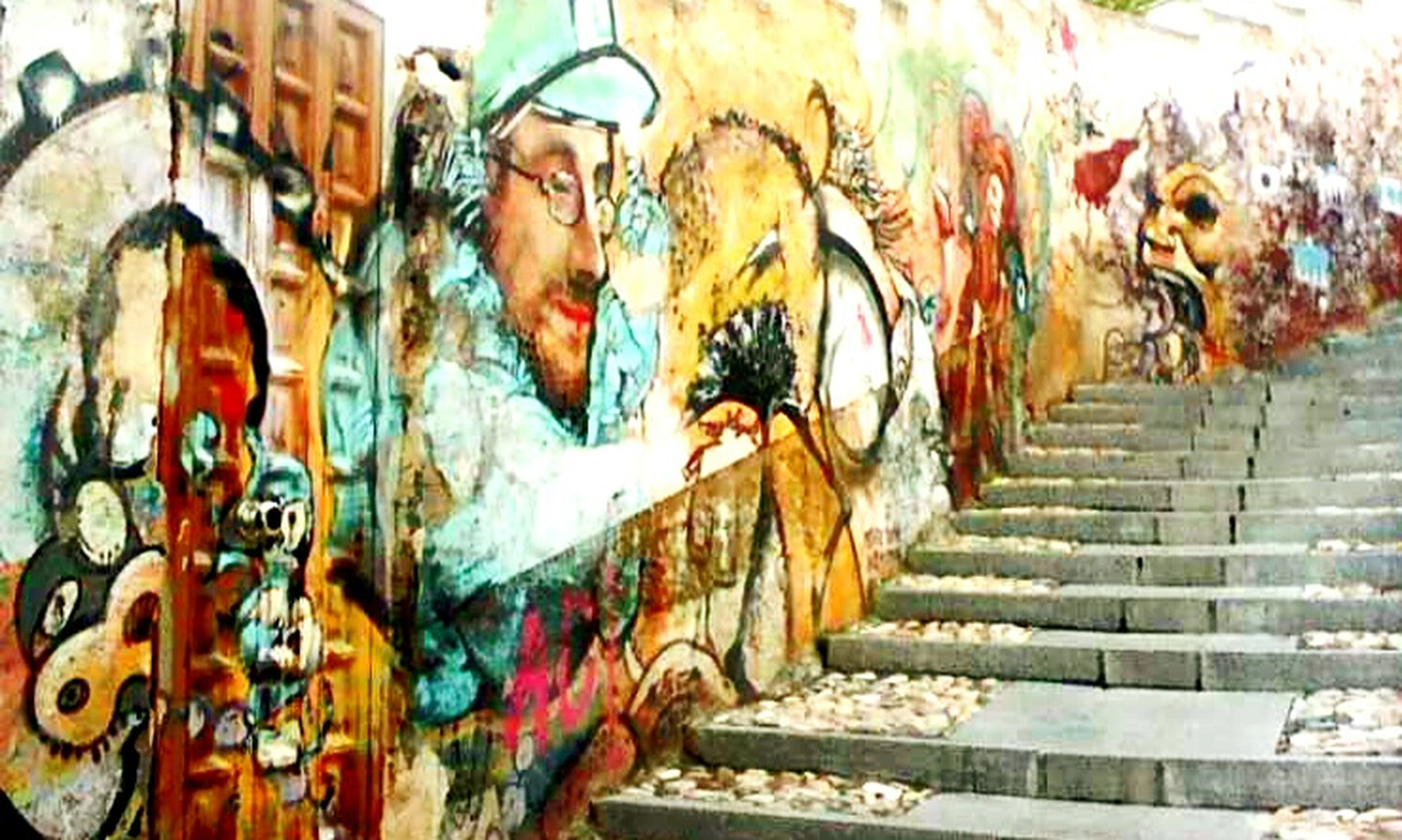 graffiti, art, art and craft, creativity, wall - building feature, multi colored, built structure, architecture, street art, human representation, mural, building exterior, vandalism, wall, pattern, painting, design, day, outdoors
