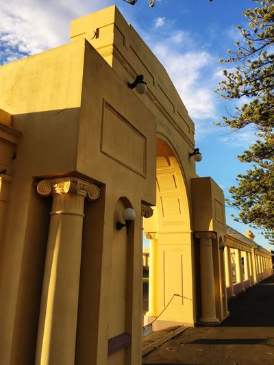 Archway on the parade Architecture Low Angle View Built Structure No People Outdoors Yellow Reserve Marine Parade