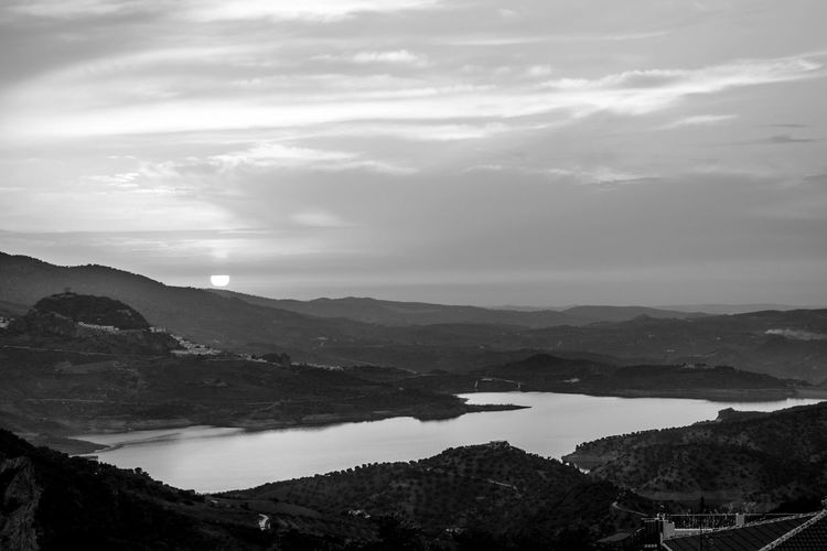 Beauty In Nature Black & White Bn Lake Mountain Nature No People Outdoors Scenics Sky Sunset Water Welcome To Black