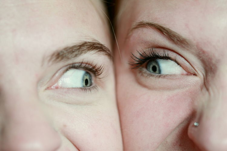 Close-up of young women with cheeks touching looking at each other