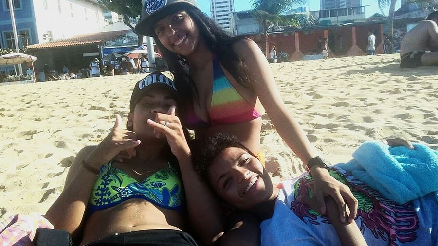 Beach Summer Friendship Bikini Smiling Women Sunlight