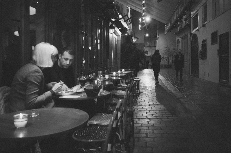 Nightphotography Blackandwhite Cafe Lifestyles Monochrome Night Streetphotography