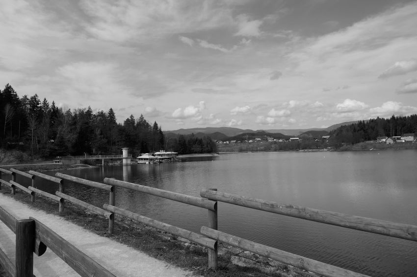Beauty In Nature Celje Daily Walk Day Lake Lake Šmartinsko Mountain Nature Nature No People Outdoors Railing Sky Slovenia Tree Walks Water