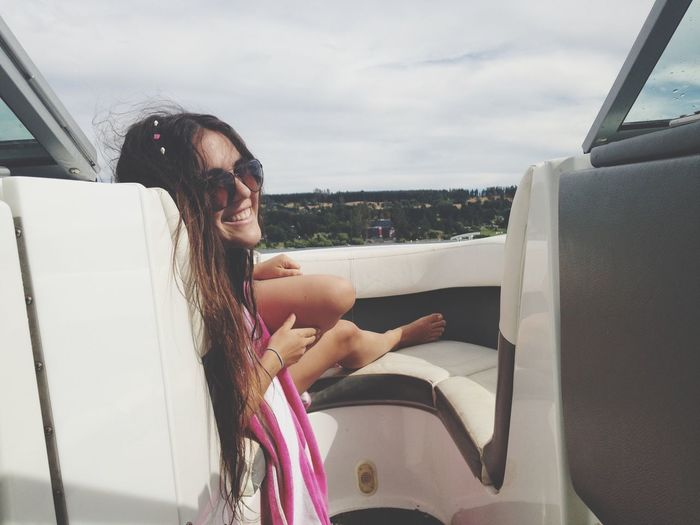 Young woman in boat