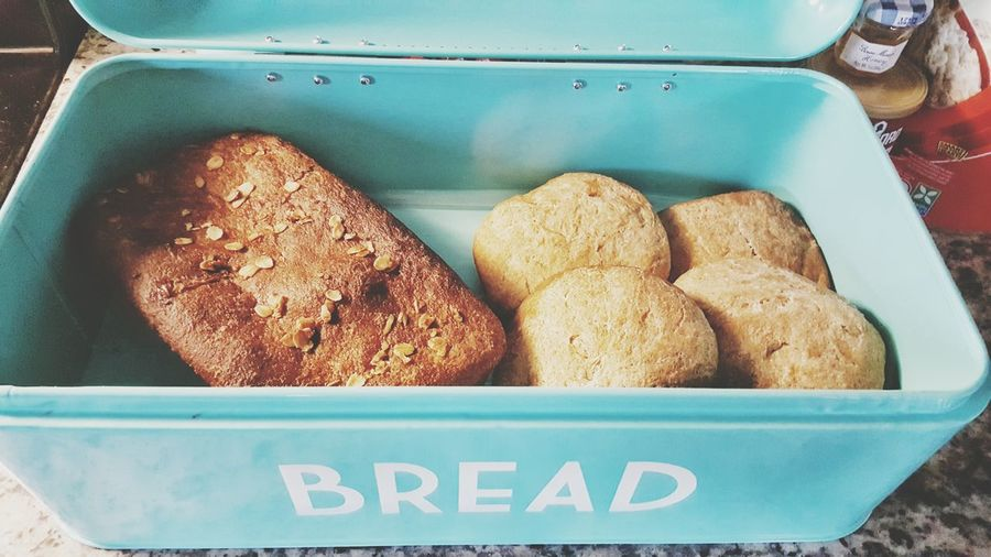 Bread Fresh Baked Homemade No People Indoors  Close-up Wheat Rolls Oats and Honey Wheat Bread Turquoise Colored Bread Box Fall 2016 Amber Color Visual Feast Food Stories