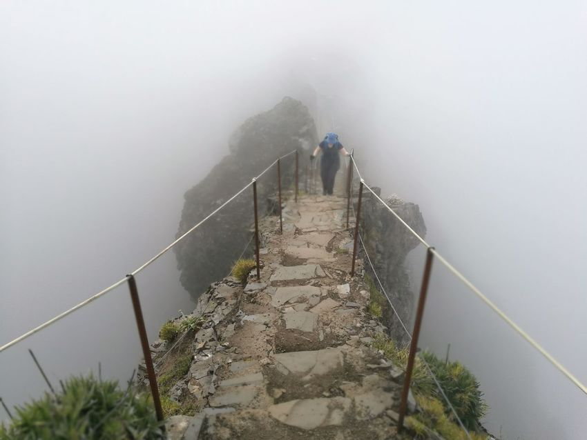 Water Fog Torrential Rain Steps And Staircases Railing Weather Bridge - Man Made Structure Sky Hand Rail Stairs Narrow Pathway Long Walkway Steps