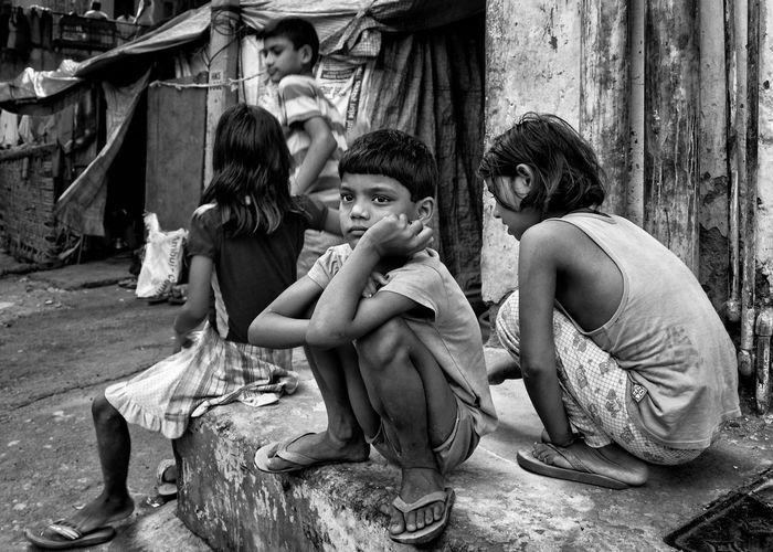 Children sitting in a row