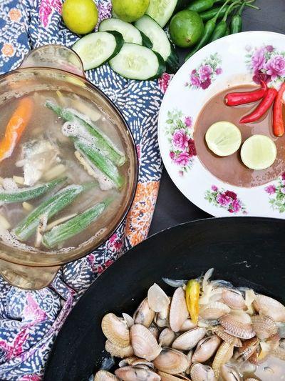 Lala Budu Singgang Ikan Plate High Angle View Close-up Sweet Food Food And Drink