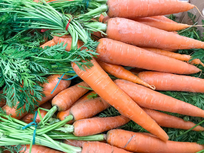 Close-up of fresh carrots. healthy fresh food background