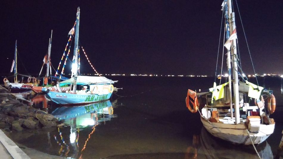 Water Reflections Night Photography Ancol Beach City Jakarta,indonesia