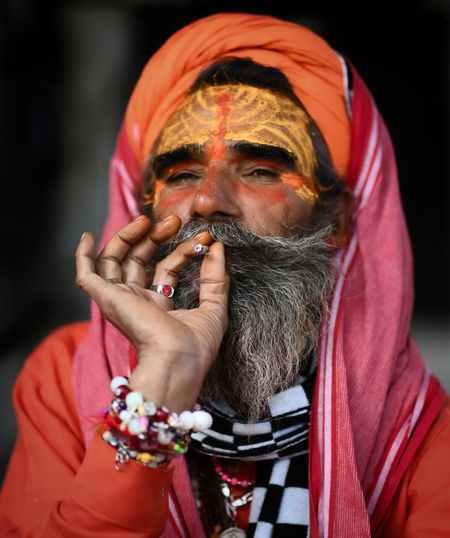 Portrait of an old man smoking