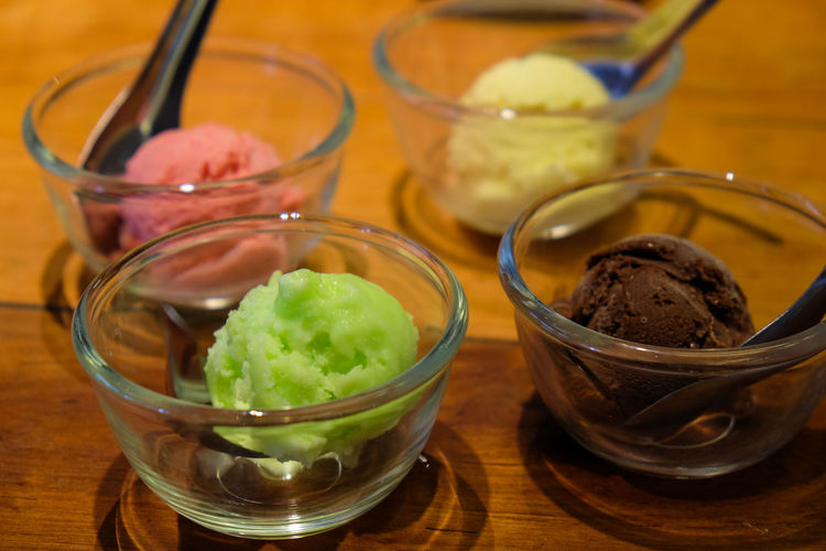 Close-Up Of Various Ice Creams In Bowls