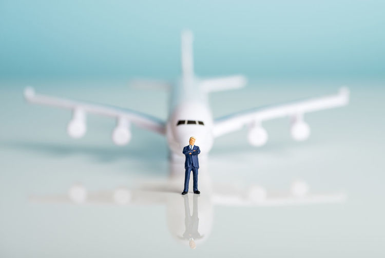 Miniature figures of a successful businessman with air transport background. Business Economy Industry Leader Passenger Aerospace Industry Air Vehicle Airline Airplane Businessman Cargo Commercial Concept Flying Freight Freight Transportation Logistic Magnate Miniature Sky Success Successful Transportation Traveller Tycoon