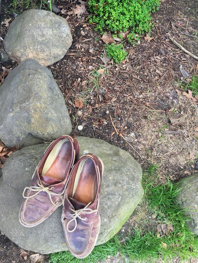 Shoes left on a rock Shoes Footwear Rock - Object Pair Of Shoes Garden Garden Rock Ground Shoes On A Rock