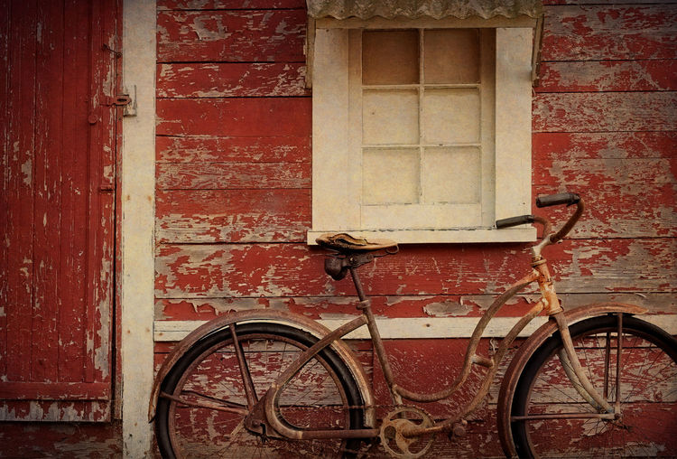 Old and In The Way. 102 year old playhouse with a vintage bicycle. Barn Classic Doors Lummi Island Red Textured  Washington Architecture Bicycle Building Exterior Close-up Day Door Mode Of Transport No People Old Time Old-fashioned Outdoors Peeling Paint Stationary Texture Transportation Vintage Wheel Window