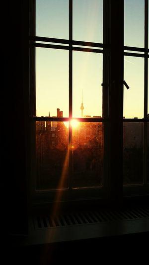 Berlin Prenzlberg Prenzlauerberg Fernsehturmberlin Fernsehturm Fernsehturm Alex Berlinalex School Window Sunlight Reflection Sunset City Sky Cityscape No People School ✌ Windows Sunny Day