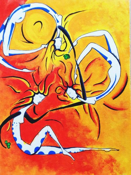 Circus on Fire Watercolour Painting Figures Art Fire Colours Colors I Love It Beautiful I Love Art