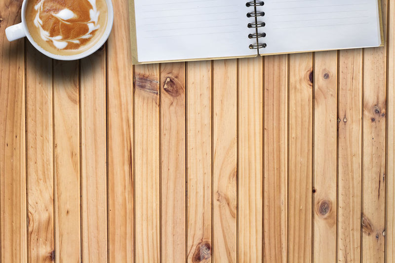 Blank Book Cappuccino Close-up Coffee Coffee Time Day Directly Above Hot Drink Indoors  No People Paper Table Wood - Material Wood Grain