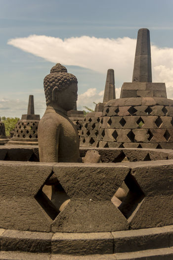 Borobudur Temple Ancient Architecture Borobudur Budism Building Exterior Built Structure Cloud - Sky Day History No People Outdoors Place Of Worship Religion Sculpture Sky Spirituality Statue Travel Destinations