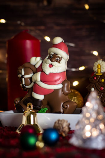 Representation Holiday Indoors  Christmas Decoration Human Representation Celebration No People Christmas Decoration Santa Claus Illuminated Figurine  Christmas Ornament Art And Craft Male Likeness Table Still Life