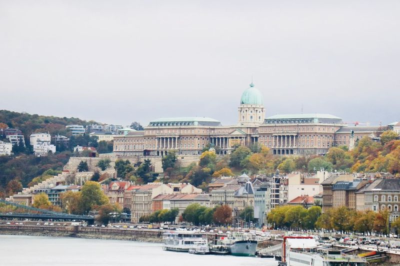 Budapest Casino as viewed from the Danube River Building Exterior Architecture Built Structure Sky Building City Dome Nature Water Day Tree No People Clear Sky Waterfront Mode Of Transportation Transportation Cityscape Travel Destinations Plant