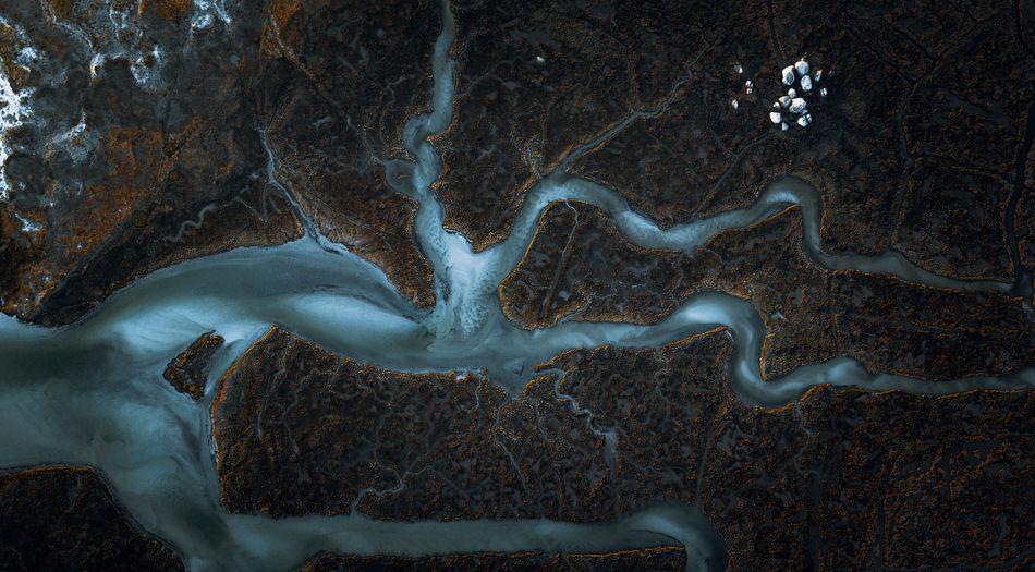 Top down of river delta