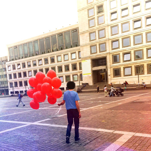 People Man Balloon Love City Fantasy Fun Color Summer Creativity Freedom Escaping Escape Wellbeing Easy Free Birthday Present Celebrating Surprise Creative Male Holding Happy Cheerful