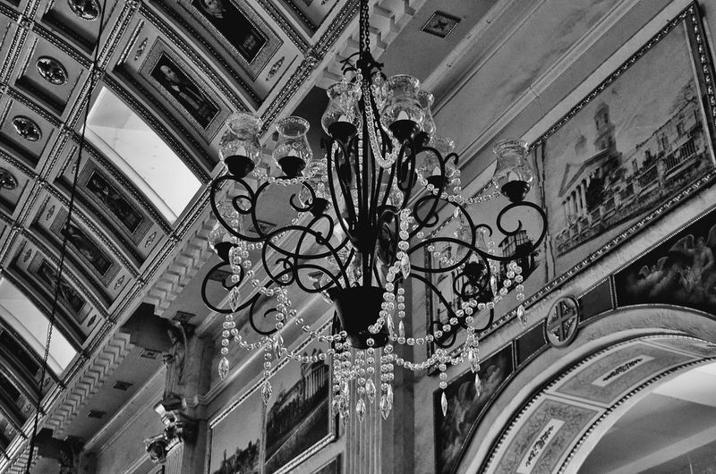 CHANDELIER - Architecture Low Angle View Built Structure Ceiling No People Indoors  Travel Destinations City Day Place Of Worship Architecture And Art EyeEm Vision Church EyeEm Phillipines Black And White Friday