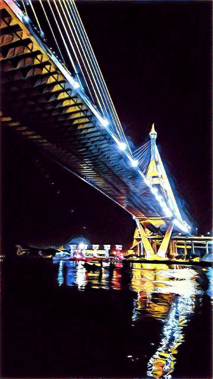 night, water, illuminated, bridge, connection, bridge - man made structure, built structure, architecture, reflection, transportation, waterfront, no people, travel destinations, river, nature, tourism, nautical vessel, motion, travel