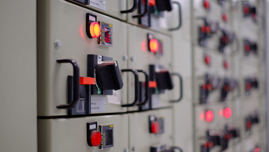 Close-up of control panel in factory