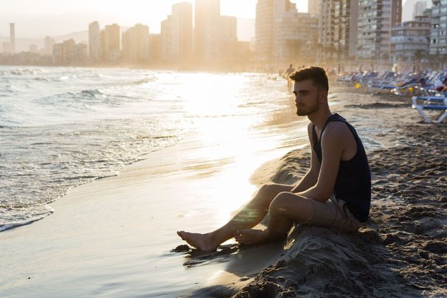 Beach Urban Skyline Water Sea Outdoors Sunset Portrait Retrato SPAIN Benidorm Valencia, Spain Photo Photography Jw_photographers Boy Flares Light First Eyeem Photo