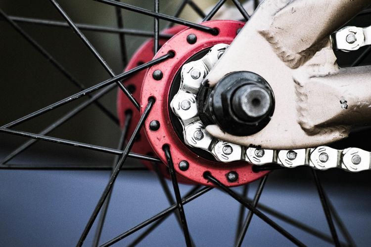 Bicycle Bicycle Chain Bicycle Wheel Bike Chain Bike Wheel Chain Close-up Metallic Red Spokes