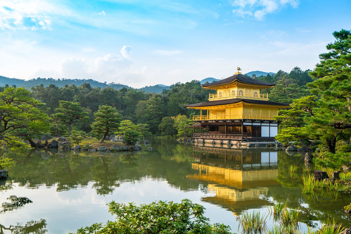 The famous views point of Kinkaku-ji temple in late afternoon. It very beautiful with light of almost sunset and the reflection of temple. Architecture Arrival Beauty In Nature Built Structure Cloud - Sky Day Kinkaku-ji Kinkaku-ji Golden Pavilion Lake Mountain Nature No People Outdoors Pavilion Place Of Worship Reflection Reflection Lake Sky Tourism Travel Travel Destinations Tree Water