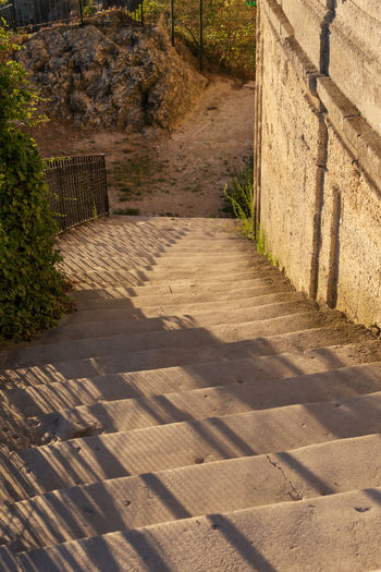 Stone stairway leading to Palais des Papes, Avignon Avignon Day Diminishing Perspective Footpath Grass Green Color Narrow Nature No People Outdoors Pathway Plant Stairs Steps Sunlight Sunny The Way Forward Tranquility Travel Destination Vanishing Point Walkway