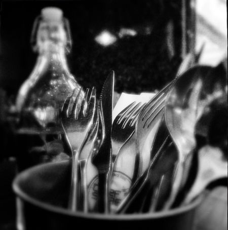 Theappwhisperer NEM Still Life NEM Black&white Mobiography Eyeemphotography Eyeem Philippines Eyeem Philippines Bnw_collection Bnw Bnw_life Restaurant Shootermag Hipstamatic IPhoneography Blackandwhite Photography Blackandwhite Knife And Fork Knife Fork No People Close-up Indoors  Cutlery Food And Drink Food