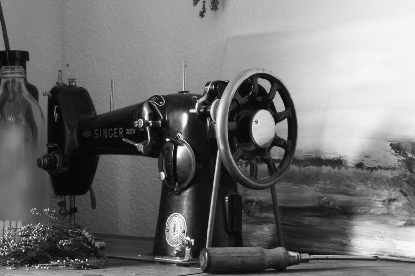 Indoors  Home Interior No People Close-up Day Sewing Machine Blackandwhite Bnw Old