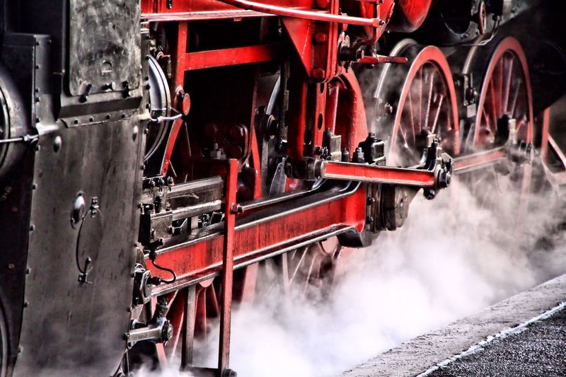 Antrieb Dampflok Day Details Mode Of Transport Motion Nature No People Outdoors Red Sky Smoke - Physical Structure Steam Steam Locomotive Tourism Train Travel Destinations Weather