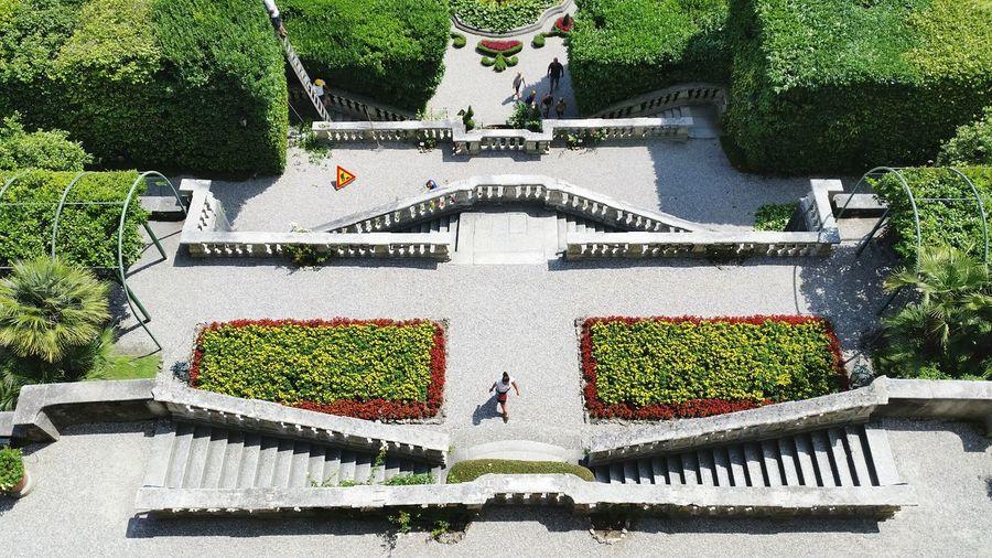 High angle view of woman walking by plants at villa carlotta