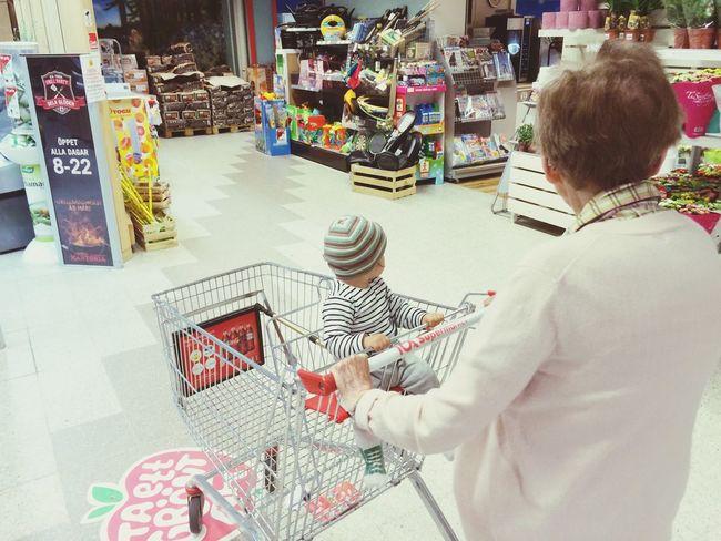Shopping Grocery Shopping People Watching Family Walking Around Grandma