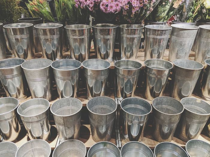 Close-up of drink glasses for sale in market