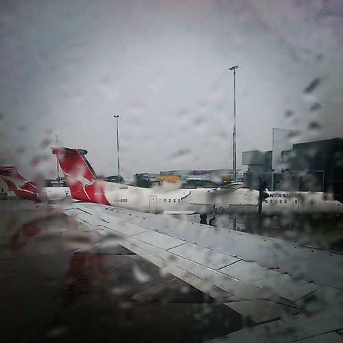 Touching down on a wet & cloudy tarmac, but glad to be safely Home