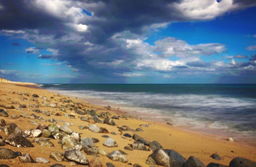 Rocky shoreline LL. Jeffrey MooreFFresh On Eyeem Beach Sea Horizon Over Water Sky Sand Nature Shore Water Tranquil Scene Beauty In Nature Scenics Tranquility Cloud - Sky Outdoors No People Day Pebble Beach Traveling Home For The Holidays