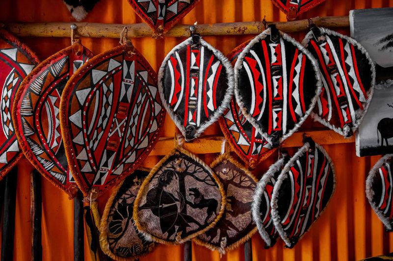 Close-up of lanterns hanging in market