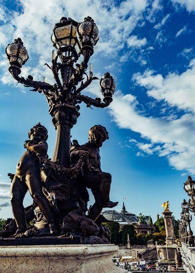Pont Alexandre 3, Paris Alexander Bridge Paris Art And Craft Sky Sculpture Representation Statue Low Angle View Cloud - Sky Architecture History