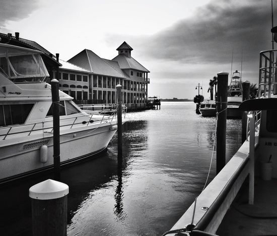 View of St Andrew's Marina in Panama City Beach Marina Boats View Panama City Beach Florida Travel Landscapes With WhiteWall Blackandwhite Photography Blackandwhite Bay