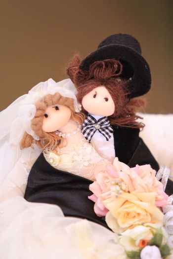A couple of dolls for wedding ceremony. Toy Celebration Representation Human Representation Doll Teddy Bear Dolls Doll Wedding Dolls Couple Couple Dolls
