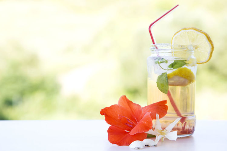 Close-up of fresh lemonade with copy space
